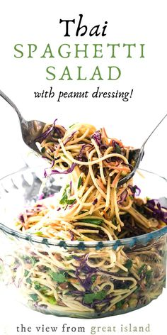This yummy Spicy Thai Spaghetti Salad With Peanut Dressing is a delicious twist on a potluck classic. Quick to prepare using common ingredients, the Asian flavors in this colorful pasta salad really pop. Spicy Thai, Thai Vegan, Vegan Vegetarian, Vegetarian Spaghetti, Asian Recipes, Healthy Recipes, Thai Recipes, Beef Recipes, Recipies