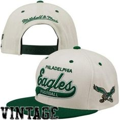 1d0a0bd785f Mitchell   Ness Philadelphia Eagles Throwback Script Tailsweeper Adjustable  Hat - White Midnight Green