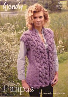 1bc566d8a78 Knitting Pattern 5699 for Cabled Trim Waistcoat   Neck Warmer in Wendy  Pampas Mega Chunky