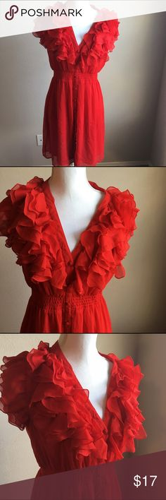 H & M red flirty dress size 10 Beautiful size 10 flirty dress with ruffles. Measures about 18 across at bust about 37 inches long. H&M Dresses Midi