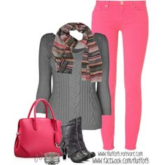 Love the grey and pink together - the grey sweater, the pink pants, the pink handbag, some black boots and a scarf throw in to put it all together - great for fall