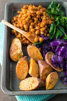 Vegan - Spicy Buddha Bowl loaded with Brown Rice, Maple Sriracha Chickpeas, Roasted Sweet Potato, Veggies and a creamy Turmeric Tahini Dressing Spicy Recipes, Lunch Recipes, Whole Food Recipes, Vegetarian Recipes, Cooking Recipes, Healthy Recipes, Ovo Vegetarian, Rice Dishes, Vegan Dishes