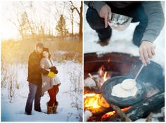 Winter Camp-Themed Engagement. I love everything.