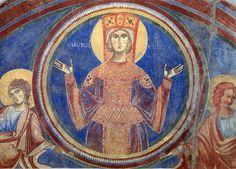 Vergine Orante - Lunetta infriore del portale Basilica Benedettina di Sant'Angelo in Formis, Capua
