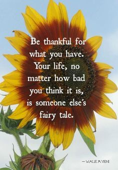 Be thankful for what you have. Your life, no matter how bad you think it is, is someone else's fairy tale
