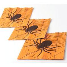 Serviette de table Halloween araignée papier orange les 20