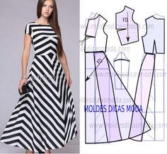 Vestido de riscas comprido - Moldes Moda por Medida
