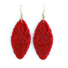 Lipstick red lovelies in 1920s Bohemian pierced glass