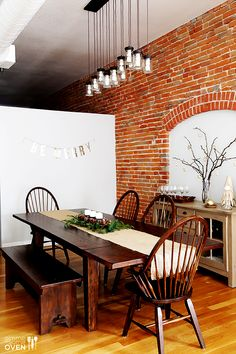 Loft Dining Room | gimmesomeoven.com #brick #table