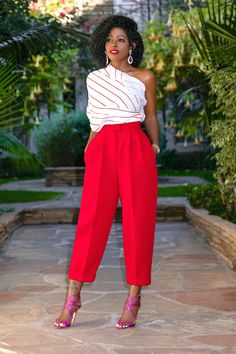 Deconstructed One Shoulder Top + Pleated Ankle Length Pants