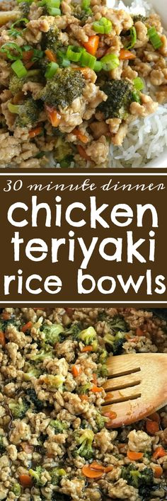 Teriyaki chicken rice bowls take 30 minutes to make and are perfect for a busy weeknight dinner. Ground chicken, broccoli, and carrots simmer on the stove top in a delicious and super simple teriyaki sauce. Serve over rice and garnish with green onions! Dinner will be so yummy.
