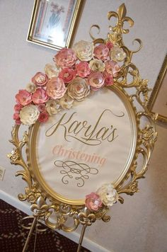 Welcome sign at a vintage romantic baptism party! See more party planning ideas at CatchMyParty.com!: