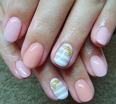 nail art design for short nails, pink, beige orange, gray and white stripe #shortnail #nailart