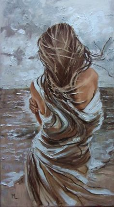 """Buy """" IT WAS COLD WITHOUT YOU ... """"- SEA SAND liGHt  ORIGINAL OIL PAINTING, GIFT, PALETTE KNIFE, Oil painting by Monika Luniak on Artfinder. Discover thousands of other original paintings, prints, sculptures and photography from independent artists. #OilPaintingFigure"""