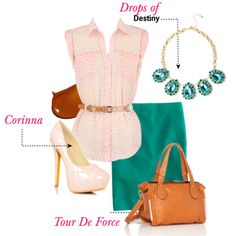 Teal, Light Pink, Brown Outfit                 Tour De Force tote #handbags