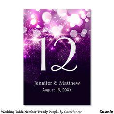 Wedding Table Number Trendy Purple Glitter Sparkle Card