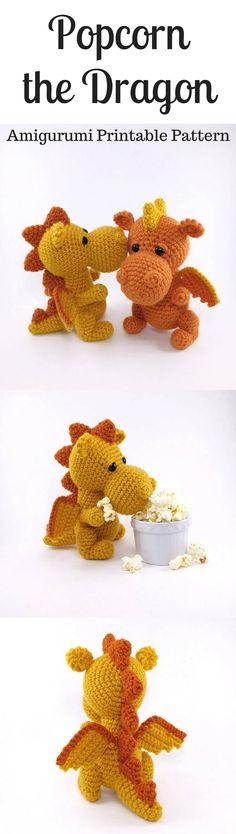 Popcorn the Dragon Amigurumi Crochet Pattern Printable PDF #ad #amigurumi #amigurumidoll #amigurumipattern #amigurumitoy #amigurumiaddict #crochet #crocheting #crochetpattern #pattern #patternsforcrochet #printable #instantdownload #pdf #dragon #popcorn