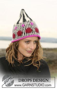 "DROPS 108-29 - Knitted DROPS hat in pattern in 3 threads ""Alpaca"". - Free pattern by DROPS Design"