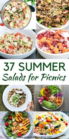 37 Healthy Summer Salad Recipes for a Crowd or Summer picnic or potluck. Easy r… 37 Healthy Summer Salad Recipes for a Crowd or Summer picnic or potluck. Easy recipes with chicken, pasta and veggies for BBQ or dinner. Low Carb and cold pasta salad recipes Easy Summer Meals, Healthy Summer Recipes, Summer Salad Recipes, Healthy Salad Recipes, Summer Salads, Picnic Salad Recipes, Cold Summer Dinners, Picnic Potluck Recipes, Healthy Picnic Foods
