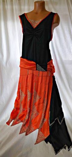 Antique vtg 20s orange/black beaded silk dress gown flapper, wearable Art Deco,M