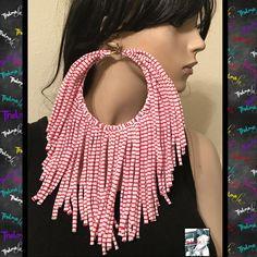Red stripe earringsBig Hoop EarringsFringe