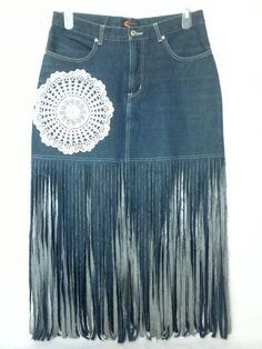 #denim_skirt #upcycle #crochet_and_fringes