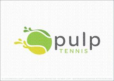 """Logo for sale: Tennis ball logo designed in a clean and modern style with stylized liquid dips extending from the abstract tennis ball logo design. Logo is a visual play on the tennis term """"pulp"""", which mean 30–30, not quite deuce. The liquid elements represent juice and speed as the ball shoots access the court. The tennis ball is designed to also look like a juicy fruit."""