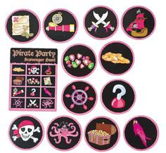 Pink Pirate Scavenger Hunt Game.  Hide the loot then let your buccaneer crew set sail for the scavenger hunt!  Includes four game cards with game instructions on the back and 4 x 12 treasure cards.  Cardboard. (52 pcs. per set); Price is for one game set. Game cards:13.3 cm x 17.8 cm; Treasure cards: 10.2 cm.