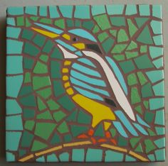Made to order, Exterior tile mosaic garden stone, Kingfisher, 12 square, exterior tile, bird, green, blue(or wall hanging). $50.00, via Etsy.