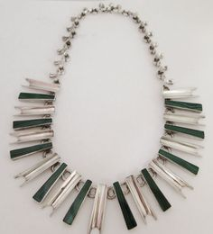 Malachite and Sterling Vintage Modernist Mexico Necklace