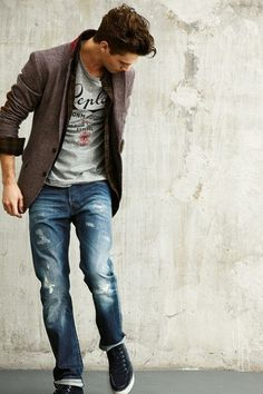 Worn jeans and a cool tee are always a winner. Men's Fashion for 2013