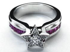 Diamond Star Pink Bridge Engagement Ring in 14K White Gold