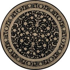 Nourison Heritage Hall Black Area Rug (9' Round)   Overstock.com Shopping - The Best Deals on Round/Oval/Square