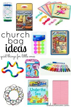 Quiet bags ideas - for church, appointments, car rides, etc.