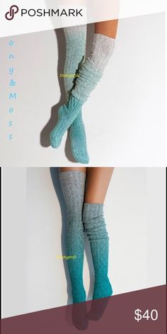 Biscay Bay Marled Thigh High Cable Knit Socks Blue Fabulous Peony & Moss Marled Thigh High Socks. This listing is for one pair biscay bay marled thigh high socks. New never worn in package. These are very long, awesome and cozy. Please look exactly like the first picture, they were never as dark as the second picture. Peony and Moss Accessories Hosiery & Socks