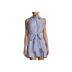 Milly Sleeveless Striped Cotton Shirtdress ($183) ❤ liked on Polyvore featuring dresses, blue pattern, sleeveless shirt dress, cotton shirt dress, stripe dresses, blue print dress and blue a line dress