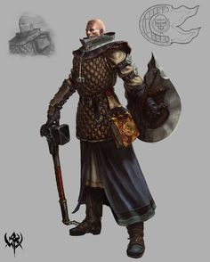 Warrior Priest from Warhammer Warhammer Online, Warhammer Art, Dungeons And Dragons Characters, Fantasy Characters, Dnd Characters, Fantasy Armor, Medieval Fantasy, High Fantasy, Paladin