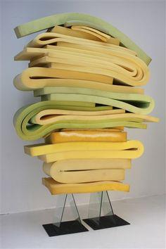 "Dave Hardy - Soft Monument, foam, steel, glass, carpet, 106""x 69"" x 32"", 2012"