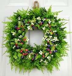 24 Inch Square Faux Farmhouse Boxwood Fern Wildflower Wreath FREE SHIPPING
