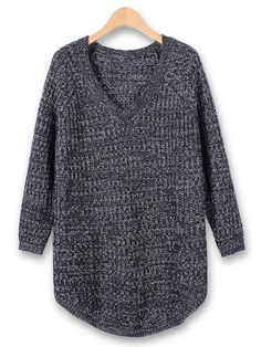 Casual Loose Long Sleeve V-neck Pullover Knitted Sweater - Gchoic.com