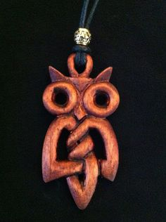 Hand Carved Wooden Celtic Knot Owl Pendant Necklace. Owl Jewelry, Wooden Jewelry, Wooden Necklace, Owl Pendant, Pendant Necklace, Owl Crafts, Whittling, Dremel, Celtic Knot