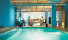 An indoor swimming is a grand luxury. What if your indoor swimming pool were in your bedroom? View four fabulous indoor swimming pools located either right in your bedroom or a quick slide away. Indoor Pools, Indoor Jacuzzi, Awesome Bedrooms, Beautiful Bedrooms, Coolest Bedrooms, Beautiful Interiors, Coolest Beds, Romantic Bedrooms, Dream Rooms