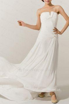Chiffon Strapless Chapel Train A-line Wedding Dress with Crystal - Focus Vogue