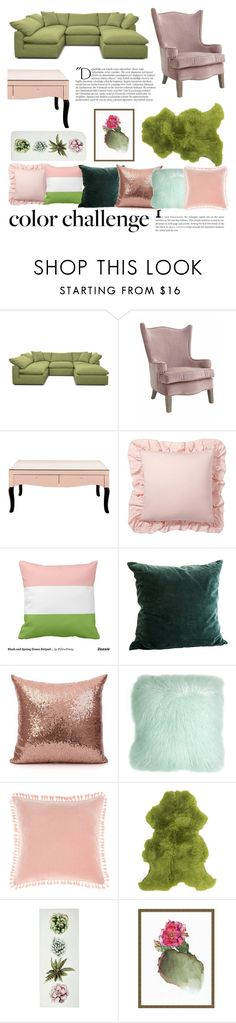 """""""Green and Blush Colour Challenge"""" by blushbabes ❤ liked on Polyvore featuring interior, interiors, interior design, home, home decor, interior decorating, Joybird, Pottery Barn, Pillow Decor and Linen House"""