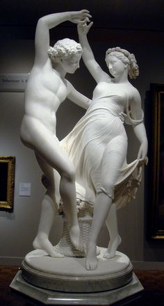Giovanni Maria Benzoni Italian, 1809-73 Marble Detroit Institute of Arts Detroit MI, USA  Sheer fabric clings to Flora's body as the goddess of flowers dances with the god of wind in spring. Benzoni studied ancient marbles, (like the three others pictured nearby), and other sculpture inspired by classical art. Though Benzoni's figures may be more sentimental than ancient ones, all convey a sense of soft, flawless human flesh.