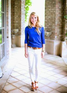 Krystal Schlegel in Blue and White.