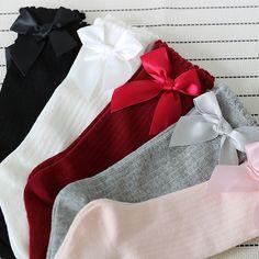 38b6efb0c14 Girls Big Bow Knee High Long Soft Cotton Lace Socks Price  5.00   FREE  Shipping