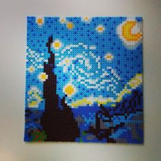 Starry Night (van Gogh) hama perler pixel art by mahama_beads