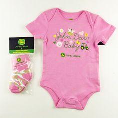 John Deere Baby Pink Onesie with Socks Twin Girls Outfits, Cute Baby Girl Outfits, Cute Outfits For Kids, Toddler Girl Outfits, Cute Baby Clothes, John Deere Baby, Camo Kids, Cute Baby Onesies, Camo Baby Stuff
