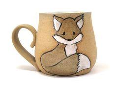 Fox mug Cute ceramic fox cup Unique pottery teacup by KUCHERIASHKA
